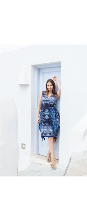 Orientique Andros Sleeveless Dress Blue Multi Print