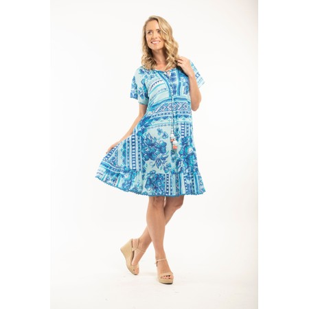 Orientique Navajo Short Sleeve Dress - Blue