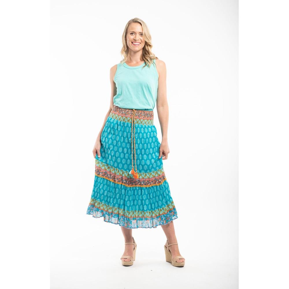 Orientique Fira Skirt  Blue Multi Print