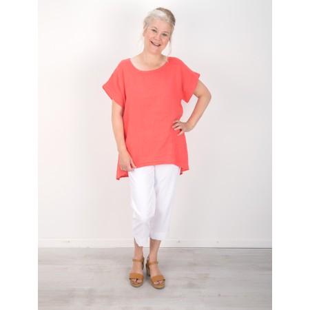 Amazing Woman  Melia Short Sleeve Linen Top - Orange