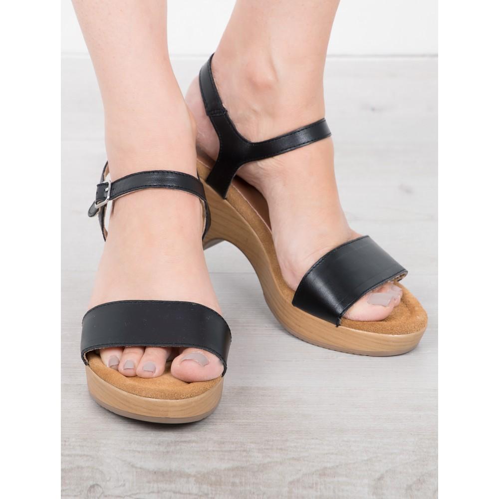 Gemini Label Shoes Aneka Icon Black Leather Wedge Sandal Nero Black