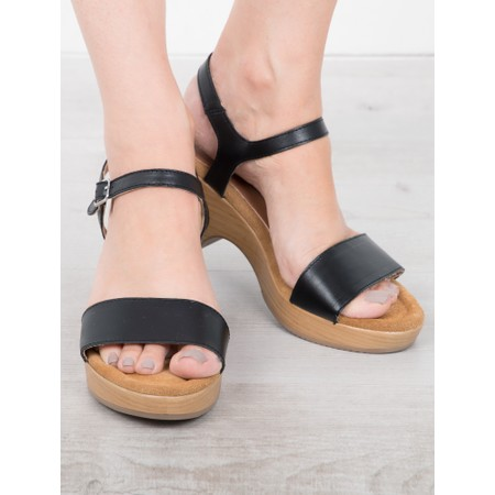 Gemini Label  Aneka Icon Leather Wedge Sandal - Black