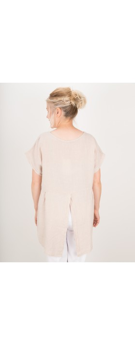 Amazing Woman Melia Short Sleeve Linen Top Natural