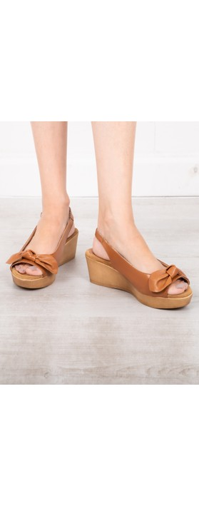 Gemini Label Shoes Bunny Leather Wedge Sandal Cuero Tan