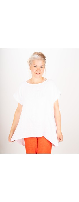 Amazing Woman Melia Short Sleeve Linen Top White
