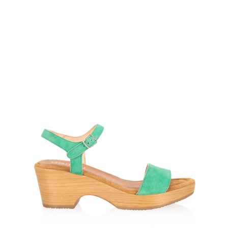 Gemini Label  Aneka Icon Suede Wedge Sandal - Green