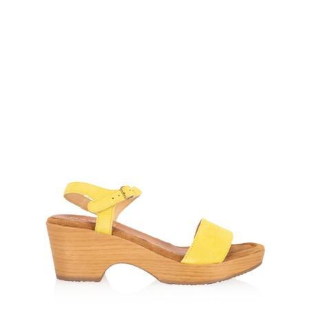 Gemini Label  Aneka Icon Suede Wedge Sandal - Yellow