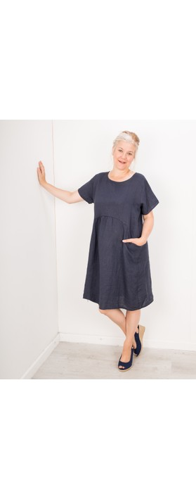 Amazing Woman Lexia Linen Dress  Navy
