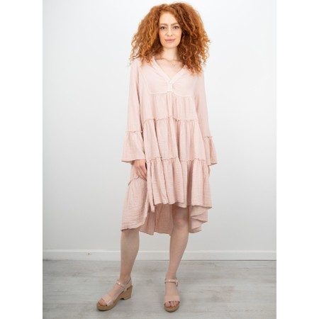 TOC  Kyra Boho Style Tiered Dress - Pink