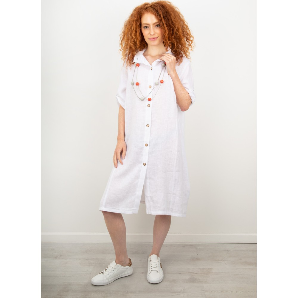 Focus Linen Shirt Dress White