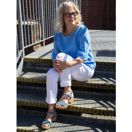 Gemini Label  Aneka Icon Suede Wedge Sandal - Blue