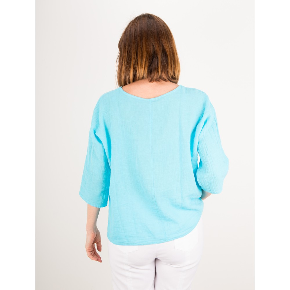 TOC Billie Linen Mix Easy Fit Top Turquoise