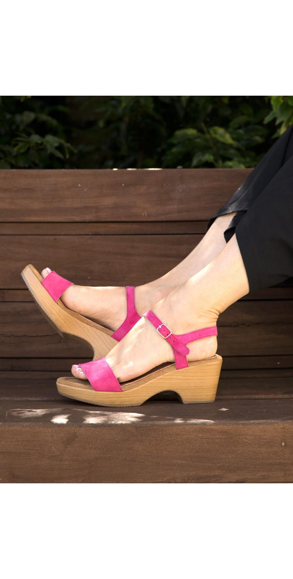 Aneka Icon Fresa Pink Suede Wedge Sandal main image