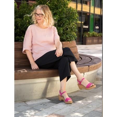 Gemini Label  Aneka Icon Suede Wedge Sandal - Pink