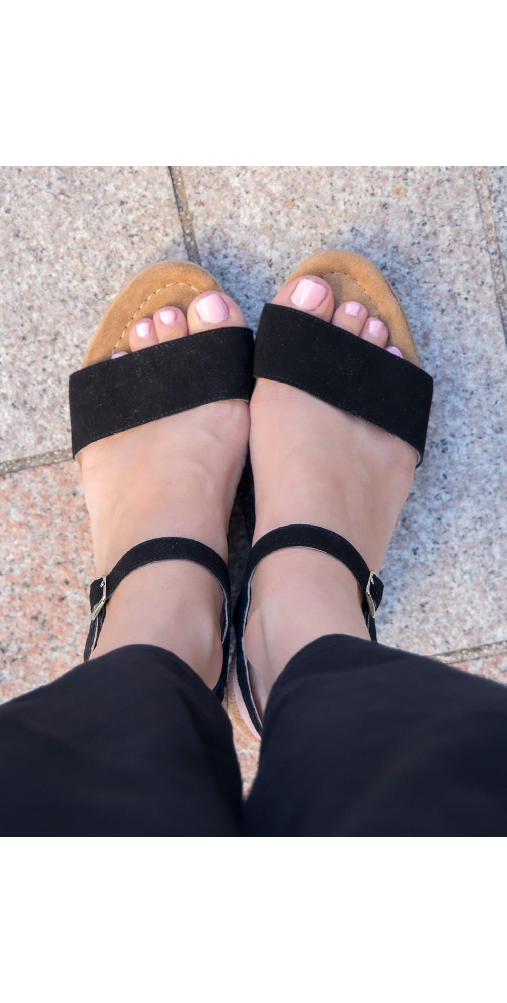 Aneka Icon Black Suede Wedge Sandal main image