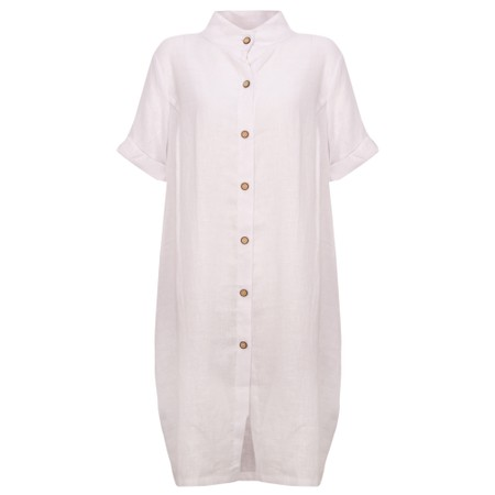 Focus Linen Shirt Dress - White