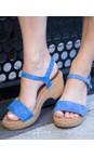 Gemini Label Shoes Anton Blue Aneka Icon Anton Blue Suede Wedge Sandal