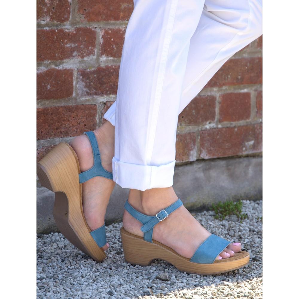 Gemini Label Shoes Aneka Icon Jeans Blue Suede Wedge Sandal Jeans Blue