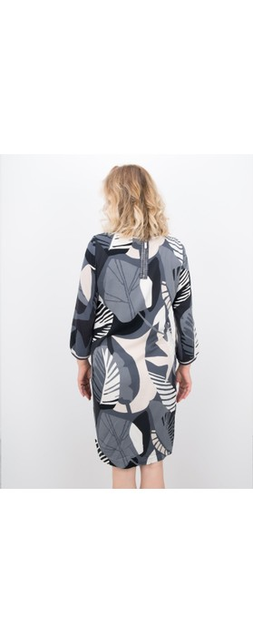 Sandwich Clothing Abstract Leaf Print Dress Antracite