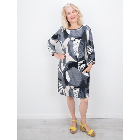 Sandwich Clothing Abstract Leaf Print Dress - Grey