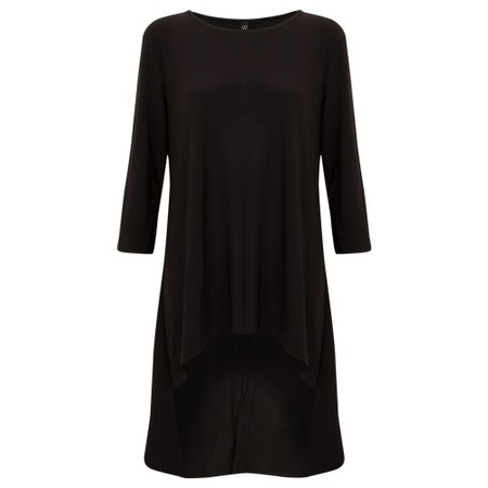 Focus Button Back Long Tunic - Black