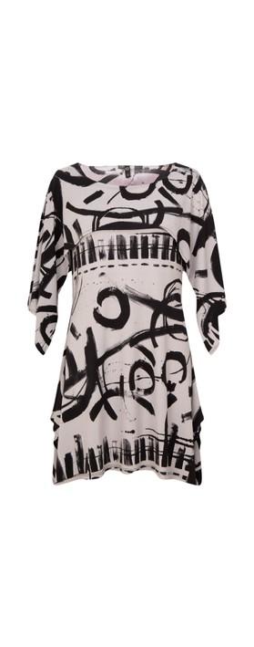 Focus Shawl Sleeve Printed Tunic Graf Grey