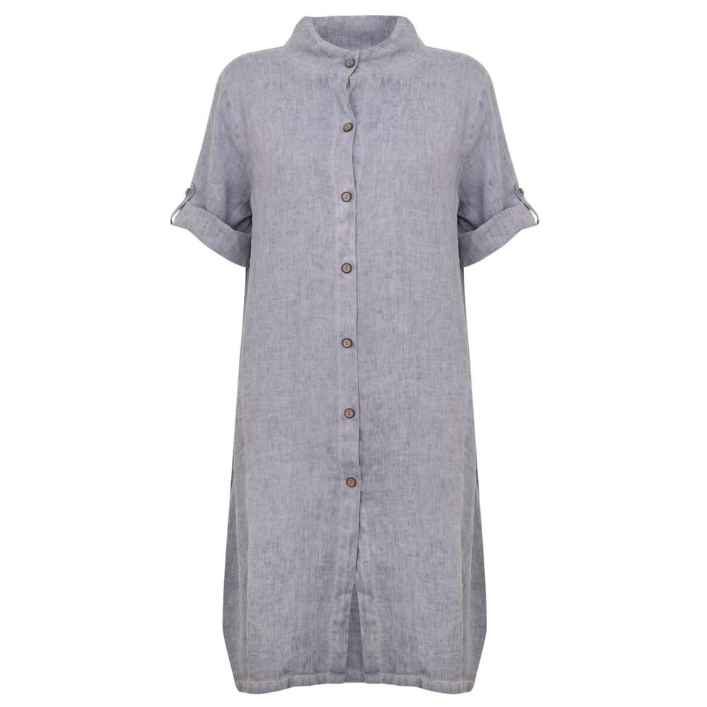 Focus Linen Shirt Dress Blue