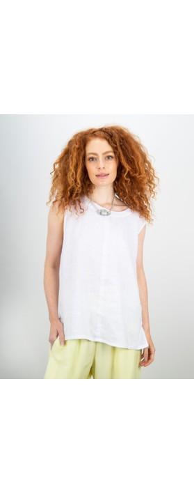 Focus Sleeveless Linen Top White
