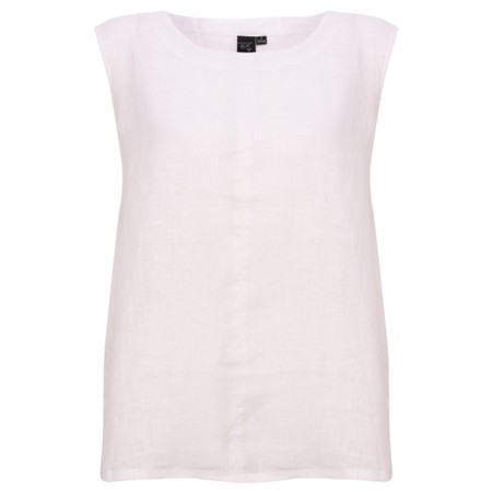 Focus Sleeveless Linen Top - White