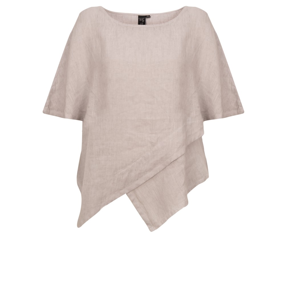 Focus Capped Sleeve Linen Top Silver
