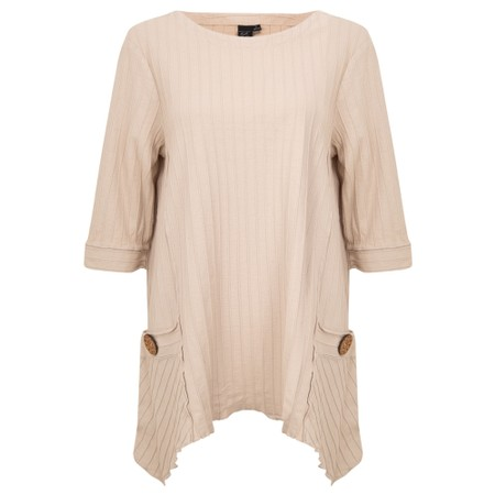 Focus Ribbed Button Pocket Tunic - Beige