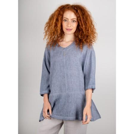 Focus 3/4 Sleeve Linen Tunic - Blue