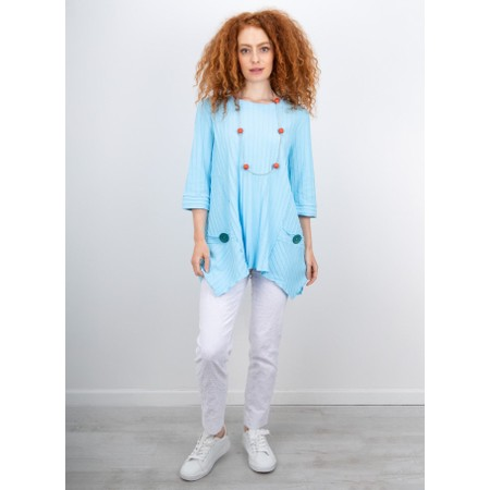 Focus Ribbed Button Pocket Tunic - Turquoise