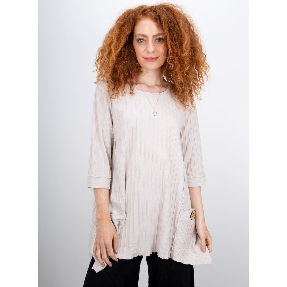 Focus Ribbed Button Pocket Tunic Oatmeal
