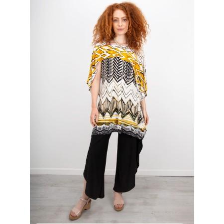 Focus Shawl Sleeve Printed Tunic - Beige