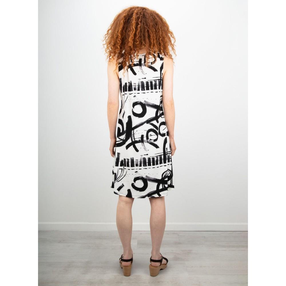 Focus Sleeveless Print Dress Graf White