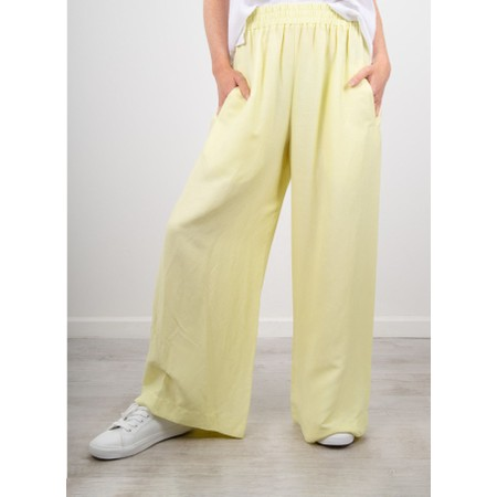 Crea Concept Wide Leg Linen Blend Trousers - Green