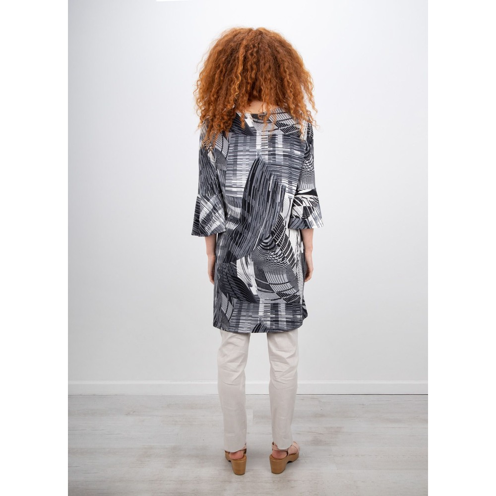 Focus Fluted Sleeve Tunic Dress Abstract