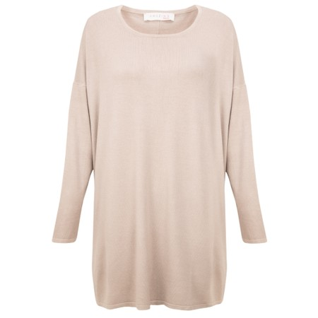 Amazing Woman  Welles Supersoft Fine Knit Button Back Jumper  - Beige