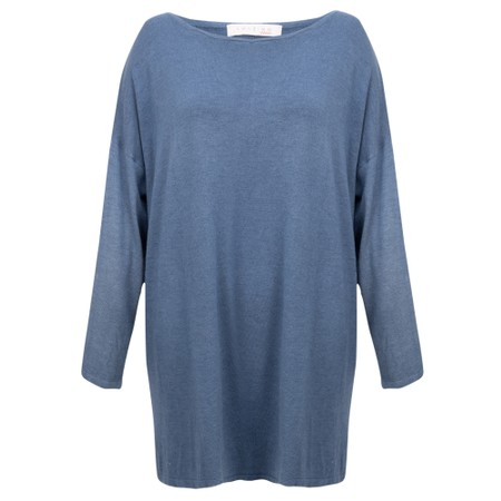 Amazing Woman  Welles Supersoft Fine Knit Button Back Jumper  - Blue