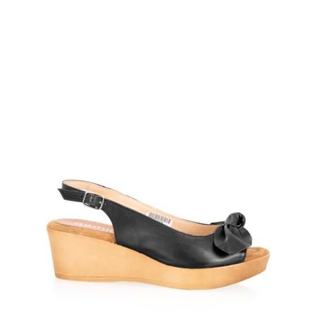Gemini Label  Bunny Wedge Sandal  - Black
