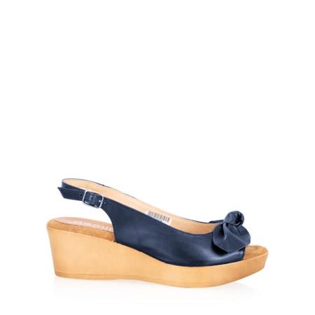 Gemini Label  Bunny Wedge Sandal  - Blue