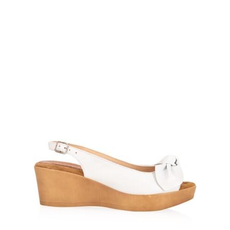 Gemini Label  Bunny Wedge Sandal  - White