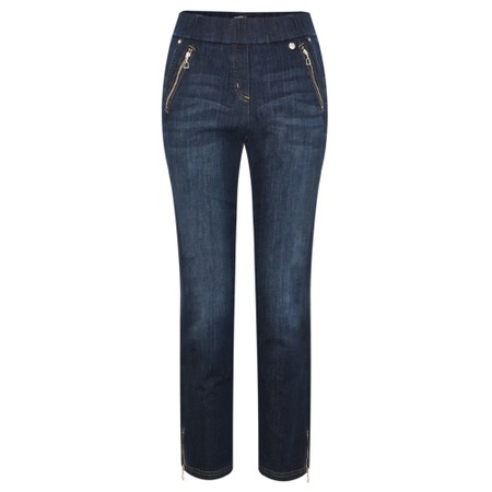 Robell Nena Dark Denim Ankle Zip Cropped Jeans - Blue