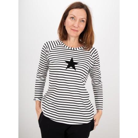 Chalk Tasha Stripe Small Star Top - Black