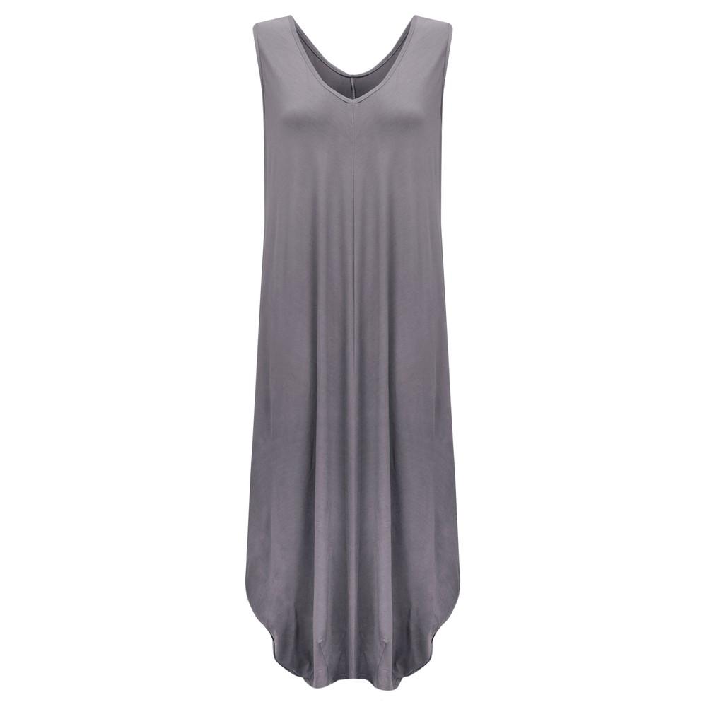 Gemini Label Clothing Iman Balloon Sleeveless Dress Charcoal
