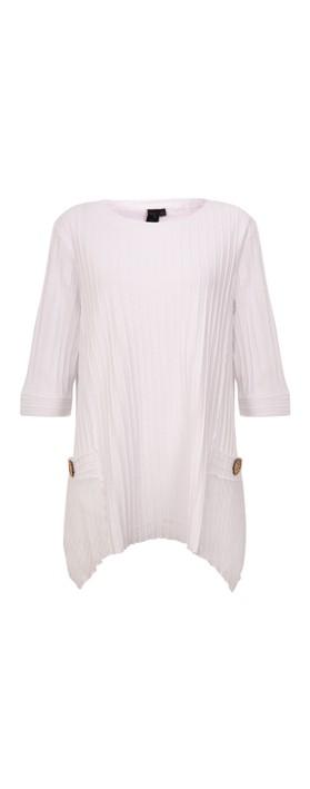 Focus Ribbed Button Pocket Tunic White