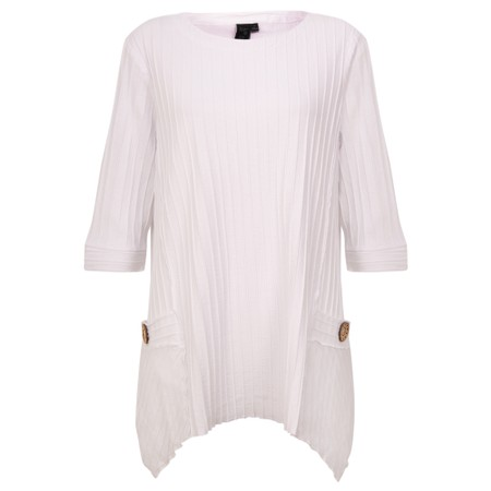 Focus Ribbed Button Pocket Tunic - White