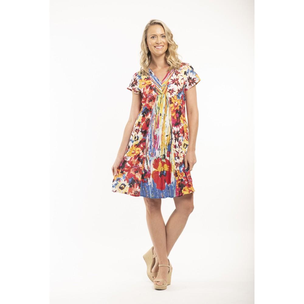 Orientique Easy Fit Floral Dress Bright Multi Print