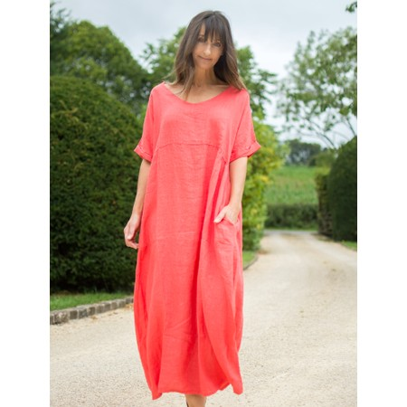 Amazing Woman  Tesa Maxi Linen Dress - Orange